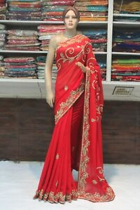 Classy Indian Ethnic Hand Crafted Designer Red Saree Bollywood Bridal Party Sari