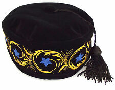 Imperial smoking hat Black cap Black tassel Blue embroidered flowers 61 cm XL