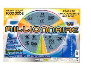 FRANCAISE DES JEUX TICKET MILLIONNAIRE GAGNANT 6 € POUR COLLECTION- FDJ