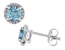 Topázio Azul E Diamantes 1.13 Quilates (Ctw) Brincos Em Ouro Branco 10K