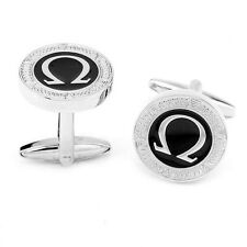 Omega Greek Letter Silver Black Cuff Links Stylish Cufflinks Gift Bag UK Seller