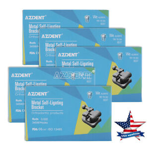 5X Dental AZDENT Bracket Passive Self Ligating With Buccal Tube Roth 022 345Hook