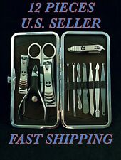 🌟12 Pc Manicure Pedicure Nail Clipper Travel Set, Men's & Womens Grooming Kit