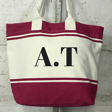 Personalised Personalized Pink and Cream Canvas Beach Tote Weekend Bag