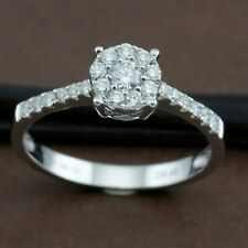 Genuine 18CT Solid White Gold Diamonds Ring