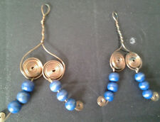bead earings blue Vintage Native American copper/wood