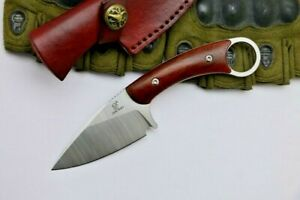 Drop Point Knife Fixed Blade Hunting Jungle Survival Tactical Combat Wood Handle