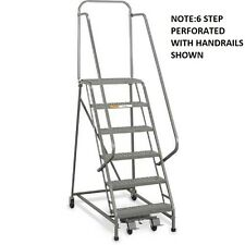 "NEW! EGA Steel Industrial Rolling Ladder 8-Step 26"" Wide Perforated-450lb.Cap!"
