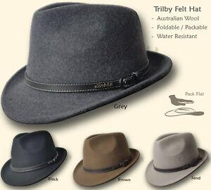 【oZtrALa】 Trilby Felt Hat Australian Wool Leather Band Fedora Fur Men/Women HW03