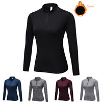 Women's Mock Neck Thermal 1/4 Zip Shirts Tops Base Layer Sports Gym Yoga Wicking