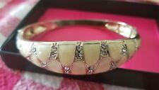 Avon fashion ENAMEL ELEGANCE STRETCH BANGLE CREAM bracelet bridal gold jewelry
