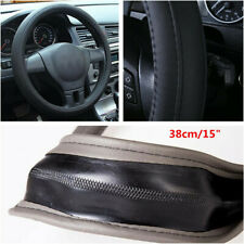 "38cm/15"" Black Car Steering Wheel Cover Anti-slip Artificial Leather Accessories"