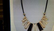 "Gold & Black Chunky Jewelry 20"" Resin Statement Choker Bib Rhinestone Necklace"