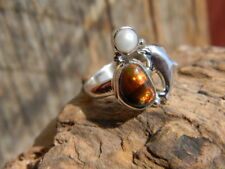 dolphin pearl ladies ring size 7 Sterling silver artisan made Mexican fire agate