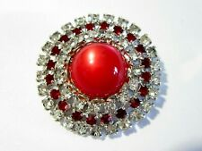 RED MOONGLOW AND RHINESTONE PIN ROUND VINTAGE