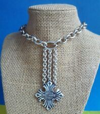 SEXY HARLEY DAVIDSON MOTORCYCLE STERLING SILVER CROSS ROLO CHAIN NECKLACE 110GR