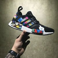 ADIDAS NMD TRIPLE BLACK  RUNNER R1 CUSTOM KAWS PAINTED MENS SIZE 7-12UK