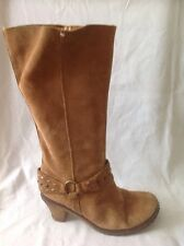 Fiore Brown Mid Calf Suede Boots Size 5