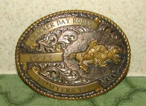 "Crumrine Men Western Belt Buckle""Cracker Day Rodeo 1993 Fort Myers FL"" plated"