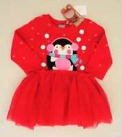 BNWTS NEXT Baby Girls Red Penguin Tutu Dress Christmas Winter Party 6-9 months