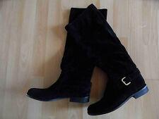 Patrizia Pepe hermosas plana gamuza botas de cuero negro Gr. 36 top GS
