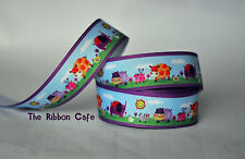 Farm Zoo with purple border printed grosgrain ribbon 25mm 2 metres