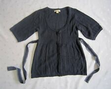 forever 21 3/4 Bishop Sleeve Wool Blend Belted Cardigan - Navy Blue - Size M