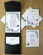 100 Personalized Custom Black Butterfly Pocket Bridal Wedding Invitations Set