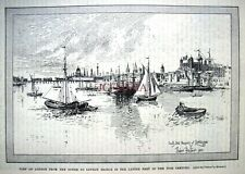 Antique Print 1901/2 - 'South-East Prospect of London in the Late 18th Century'.