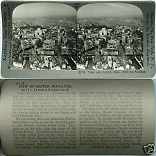 Keystone Stereoview an Aerial view of BOSTON, MA & Harbor From 600/1200 Card Set