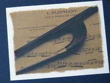 Lm. greetings / birthday card with DOUBLE BASS BOW & MUSIC detail
