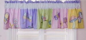 """Kids Line GOSSAMER WINGS Embroidered Butterfly Baby Window Valance Pink Yell 15"""""""
