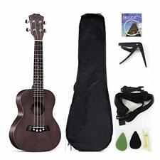 23'' Concert Ukulele Ukelele Solid Top Mahogany W/Gig bag Strap TriggerCapoPicks