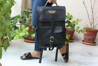 Backpack Leather Large Compertment Laptop Mens Travel Black Rucksack Satchel