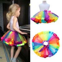UK Girls Kids Baby Rainbow Tutu Skirt Party Costume Fancy Tutu Pettiskirt 0-8Y