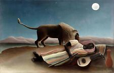 PAINTING HENRI ROUSSEAU LA ZINGARA ADDORMENTATA LION ART PRINT POSTER LF2470
