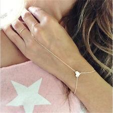 New Handmade Faux Turquoise Bracelet Bangle Slave Chain Finger Ring Hand Harness