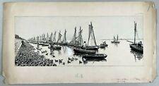 Dessin encre Fernand FAU (1858-1915) Bateaux Pêche Baie de Somme St Valery 1890
