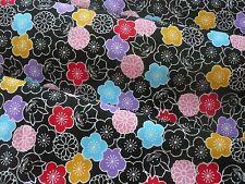 Japanese Cotton Fabric SAKURA Flower USAGI Rabbit Print 1/2- Yard/ Made in Japan