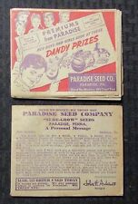 """Vintage 50s? PARADISE SEED CO. Catalog LOT of 2 GD-/VG 5.25x4.25"""""""