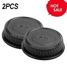 2x Rear Lens Caps Cover Plastic Round Rear Lens-Cap for PK Lens Pentax black New