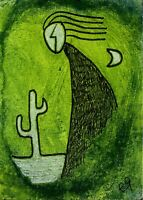 21012108 e9Art ACEO Outsider Art Painting Brut Primitive Abstract Figurative ATC