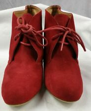 Tony Bianco Womens Red Leyla Camel Suede Leather Wedge Heel Shoes Size 4.5 VGC