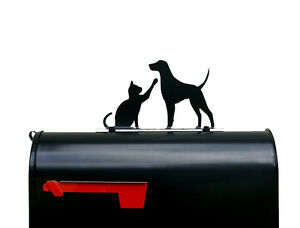 Cat and Dog Silhouette Mailbox Topper / Sign - Powder Coated Steel  - USA Made