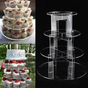 Clear Acrylic Round Cupcake Stand Display Wedding&Party 4 tier Cup Cake Stand