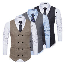 Mens Solid Double-Breasted Formal Business Slim Fit Chain Vest Suit Waistcoat