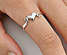 .925 Sterling Silver Ring size 4 Heart Kids Midi Knuckle Love Ladies New p78