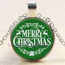 Merry Christmas Photo Cabochon Glass Tibet Silver Chain Pendant Necklace