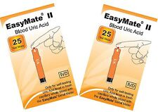 Uric Acid Test - TWO packs of 25 test strips - EASYMATE - Fresh and long dated