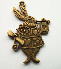 10pcs alloy metal bronze plated rabbit charms pendant 35.5x25  mm